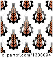 Clipart Of A Seamless Background Pattern Of Gradient Wheat And Gears 2 Royalty Free Vector Illustration