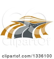 Clipart Of A Road Or Highway With Brown Sides And A Fork Royalty Free Vector Illustration