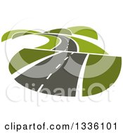 Clipart Of A Curvy Hilly Road Or Highway With Green Hills Royalty Free Vector Illustration