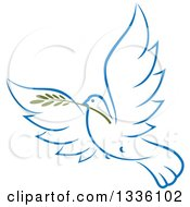 Clipart Of A Sketched Light Blue Flying Peace Dove With A Branch 2 Royalty Free Vector Illustration