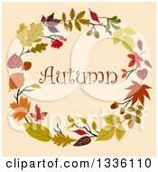 Clipart Of A Colorful Autumn Leaf Wreath With Text Over Beige Royalty Free Vector Illustration