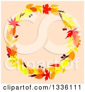 Clipart Of A Colorful Autumn Leaf Wreath Over Pastel Pink Royalty Free Vector Illustration