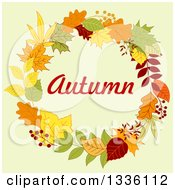 Clipart Of A Colorful Autumn Leaf Wreath With Text Over Pastel Green Royalty Free Vector Illustration