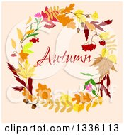 Clipart Of A Colorful Autumn Leaf Wreath With Text Over Pastel Pink Royalty Free Vector Illustration