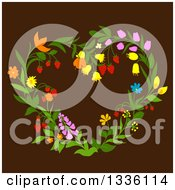 Clipart Of A Floral Heart Shaped Wreath On Brown 2 Royalty Free Vector Illustration