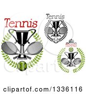 Clipart Of Wreaths With Tennis Balls Crossed Rackets And Trophy Cups Royalty Free Vector Illustration