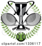 Clipart Of A Green Wreath With A Tennis Ball Crossed Rackets And Trophy Cup Royalty Free Vector Illustration