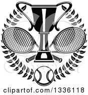 Clipart Of A Black And White Wreath With A Tennis Ball Crossed Rackets And Trophy Cup Royalty Free Vector Illustration