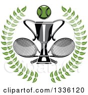Clipart Of A Green Wreath With A Tennis Ball Over Crossed Rackets And Trophy Cup Royalty Free Vector Illustration