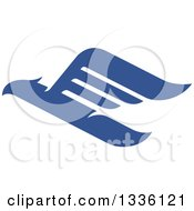 Clipart Of A Blue Abstract Flying Eagle 3 Royalty Free Vector Illustration