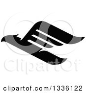 Clipart Of A Black Abstract Flying Eagle 3 Royalty Free Vector Illustration