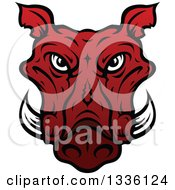 Clipart Of A Red Boar Mascot Head 3 Royalty Free Vector Illustration