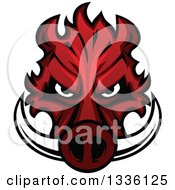 Clipart Of A Red Boar Mascot Head 2 Royalty Free Vector Illustration