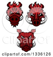 Clipart Of Red Boar Mascot Heads Royalty Free Vector Illustration