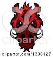 Clipart Of A Red Boar Mascot Head Royalty Free Vector Illustration