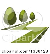 Clipart Of A Green Lawn And Shrubs Or Trees Royalty Free Vector Illustration