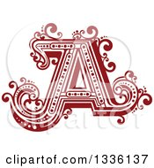 Clipart Of A Retro Red Capital Letter A With Flourishes Royalty Free Vector Illustration by Vector Tradition SM