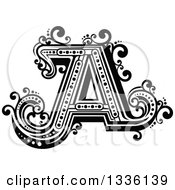 Clipart Of A Retro Black And White Capital Letter A With Flourishes Royalty Free Vector Illustration
