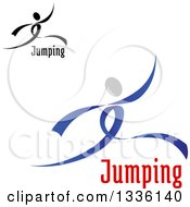 Clipart Of Ribbon Dancers Leaping Or Moving With Text Royalty Free Vector Illustration