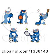 Clipart Of Cartoon Blue Sporty Owls Royalty Free Vector Illustration