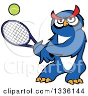 Clipart Of A Cartoon Blue Owl Playing Tennis Royalty Free Vector Illustration