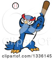Clipart Of A Cartoon Blue Owl Baseball Player Batting Royalty Free Vector Illustration by Seamartini Graphics