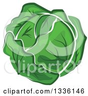 Clipart Of A Cartoon Cabbage Or Lettuce Head Royalty Free Vector Illustration