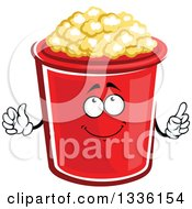 Clipart Of A Cartoon Popcorn Bucket Character Holding Up A Finger Royalty Free Vector Illustration by Vector Tradition SM