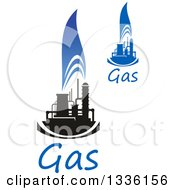 Clipart Of Black And Blue Natural Gas And Flame Designs With Text 16 Royalty Free Vector Illustration