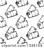 Clipart Of A Seamless Pattern Background Of Black And White Bundles Of Cash Money Royalty Free Vector Illustration by Vector Tradition SM