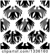 Clipart Of A Seamless Patterned Background Of Black Eagles On White 3 Royalty Free Vector Illustration