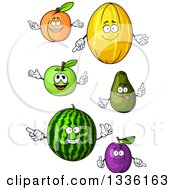 Clipart Of Cartoon Happy Fruits Royalty Free Vector Illustration