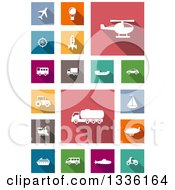 White Flat Design Transportation Icons On Colorful Tiles
