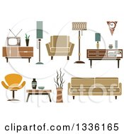 Clipart Of Retro Household Furniture 5 Royalty Free Vector Illustration