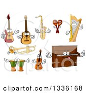 Clipart Of Cartoon Happy Instrument Characters Royalty Free Vector Illustration by Vector Tradition SM
