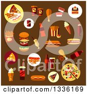 Clipart Of Flat Design Fast Foods On Brown Royalty Free Vector Illustration