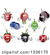 Clipart Of Cartoon Berry Fruit Characters Royalty Free Vector Illustration