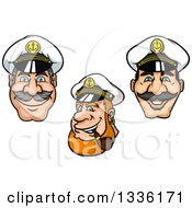 Clipart Of Cartoon Happy White Male Nautical Captain Faces Royalty Free Vector Illustration by Vector Tradition SM