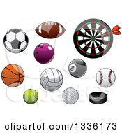 Clipart Of Cartoon Sports Balls And Pucks And A Dart Board Royalty Free Vector Illustration