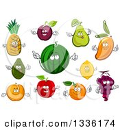 Clipart Of Cartoon Fruit Characters Royalty Free Vector Illustration