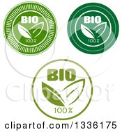 Round Green And White Bio Leaf Icons Or Labels