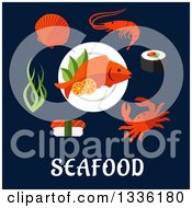 Clipart Of Flat Design Seafoods Over Text On Navy Blue Royalty Free Vector Illustration by Vector Tradition SM