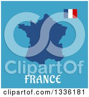 Flat Design French Flag And Map Over Text On Blue