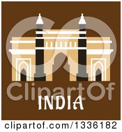 Clipart Of A Flat Design Mosque Over India Text On Brown Royalty Free Vector Illustration