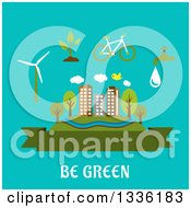 Clipart Of A Flat Design City Blank Banner And Green Living Items Over Turquoise And Text Royalty Free Vector Illustration