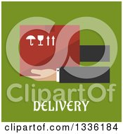 Clipart Of Flat Design Hands Holding A Box Over Text On Green Royalty Free Vector Illustration