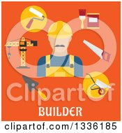 Clipart Of A Flat Design Builder Avatar And Items Over Text On Orange Royalty Free Vector Illustration