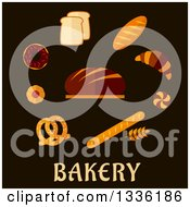 Clipart Of Flat Design Breads And Baked Goods Over Text Royalty Free Vector Illustration by Vector Tradition SM
