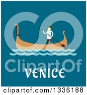 Clipart Of A Flat Design Gondolier And Boat Over Venice Text On Blue Royalty Free Vector Illustration