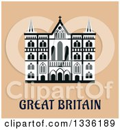 Clipart Of A Flat Design Cathedral In Great Britain Over Tan Royalty Free Vector Illustration